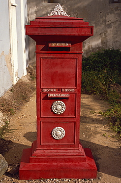 Old post box in museum, Aruba, Dutch Antilles, West Indies, Central America