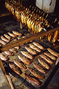 Smoked herring, also known as little bornholmers, in smoking house, Bornholm Island, Denmark, Scandinavia, Europe