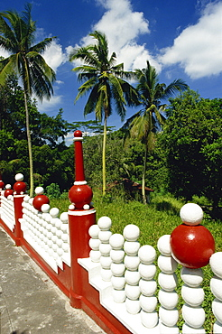 Red and white railings at the Tiger Balm Gardens in Singapore, Southeast Asia, Asia