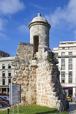 Remains of the old city walls outside the  Museum of the Revolution, Havana, Cuba, West Indies, Central America