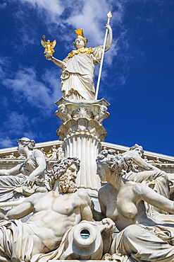 Pallas Athene statue in front of The Austrian Parliament building, Vienna, Austria, Europe
