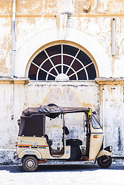 Tuktuk in the Old Town of Galle, UNESCO World Heritage Site on the South Coast of Sri Lanka, Asia