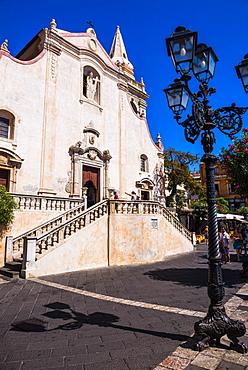 Baroque Church of St. Joseph in Piazza IX Aprile on Corso Umberto, the main street in Taormina, Sicily, Italy, Europe