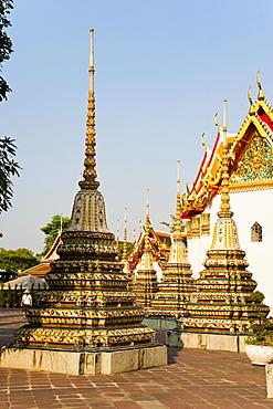 Colourful stupa at Temple of the Reclining Buddha (Wat Pho), Bangkok, Thailand, Southeast Asia, Asia