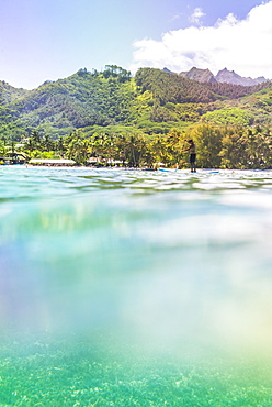 Paddleboarding in Muri Lagoon with Rarotonga in the background, Cook Islands, South Pacific, Pacific
