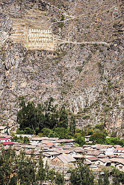 Pinkullyuna Inca Storehouses above Ollantaytambo, Sacred Valley of the Incas (Urubamba Valley), near Cusco, Peru, South America