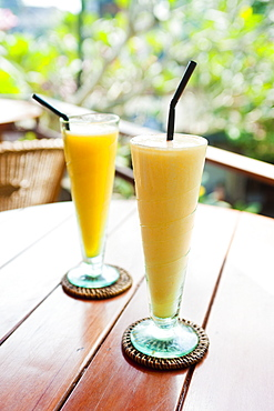 Mango fruit juice at breakfast in a cafe in Ubud, Bali, Indonesia, Southeast Asia, Asia