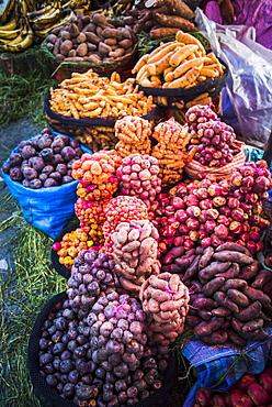 Different potatoes for sale at a food market in La Paz, La Paz Department, Bolivia, South America