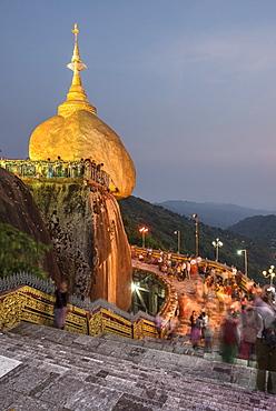 Golden Rock (Kyaiktiyo Pagoda) at night, a Buddhist Temple in Mon State, Myanmar (Burma), Asia