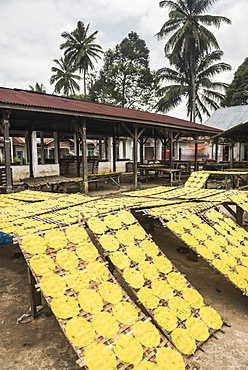 Krupuk (Kroepoek) drying in the sun, Bukittinggi, West Sumatra, Indonesia, Southeast Asia, Asia