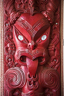 Wooden carving at a Maori Meeting House, Waitangi Treaty Grounds, Bay of Islands, Northland Region, North Island, New Zealand, Pacific