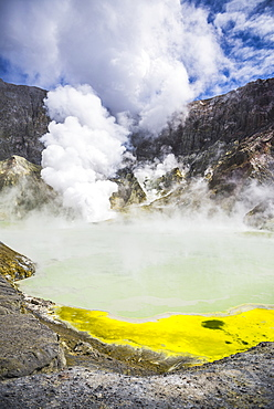 Acid Crater Lake, White Island Volcano, an active volcano in the Bay of Plenty, North Island, New Zealand, Pacific