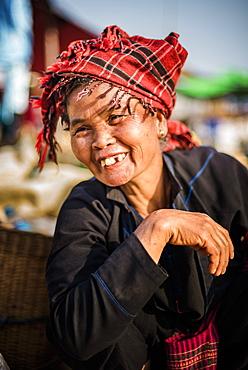 Portrait of Pa-O woman at Ywama Market, Inle Lake, Shan State, Myanmar (Burma), Asia