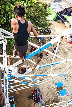 Hand operated ferris wheel at Pindaya Cave Festival, Shan State, Myanmar (Burma), Asia