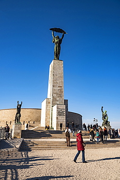 Statue of Liberation Monument (Liberty Statue), The Citadel, Gellert Hill, Budapest, Hungary, Europe