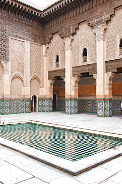 Medersa Ben Youssef central courtyard, the old Islamic school, Old Medina, Marrakech, Morocco, North Africa, Africa