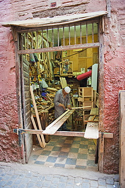 Carpenter in his workshop in the souk of Marrakech, Morocco, North Africa, Africa