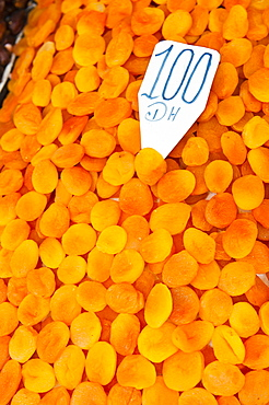 Dried apricots for sale in the souks in Djemaa El Fna, Marrakech, Morocco, North Africa, Africa