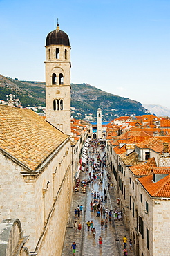 Dubrovnik Old Town, Stradun, Franciscan Monastery and City Bell Tower from Dubrovnik City Walls, UNESCO World Heritage Site, Dubrovnik, Dalmatian Coast, Croatia, Europe