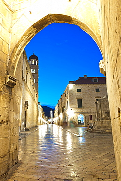 Stradun, the Franciscan Monastery and Old Town Bell Tower in Dubrovnik Old Town at night, UNESCO World Heritage Site, Dubrovnik, Croatia, Europe