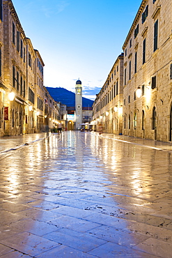 City Bell Tower on Stradun, the main street in Dubrovnik Old Town at night, UNESCO World Heritage Site, Dubrovnik, Croatia, Europe