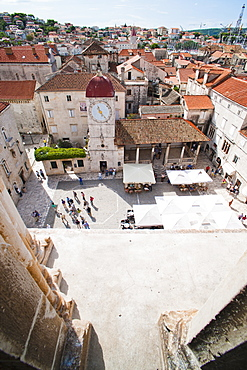 St. Lawrence Square viewed from the Cathedral of St. Lawrence, Trogir, UNESCO World Heritage Site, Dalmatian Coast, Croatia, Europe