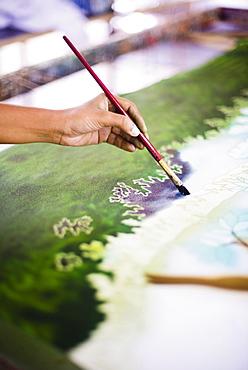 Batik painting near Anuradhapura, Central Province, Sri Lanka, Asia