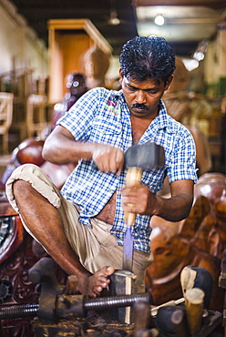 Carpenter working at the Ancient City of Polonnaruwa, Cultural Triangle, Sri Lanka, Asia