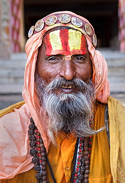 Portrait of Sadhu in Pushkar, Rajasthan, India, Asia