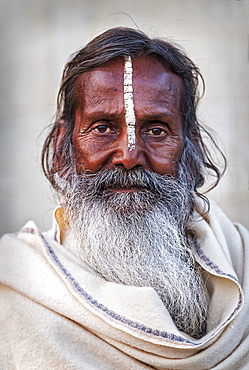 Portrait of Sadhu with white stripe in Varanasi, India, Asia