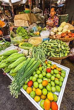 Fresh vegetables at street market in the capital city of Phnom Penh, Cambodia, Indochina, Southeast Asia, Asia
