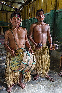 Traditional musicians perform in San Francisco Village, Loreto, Peru, South America