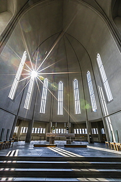 Interior view of Hallgrimskirkja, the largest Lutheran church in Reykjavik, Iceland, Polar Regions