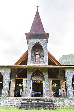 Exterior view of the Catholic Church in the town of Vaitahu on the island of Tahuata, Marquesas, French Polynesia, South Pacific, Pacific