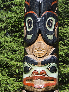 Detail of a totem pole on display at Sitka National Historical Park in Sitka, Baranof Island, Southeast Alaska, United States of America