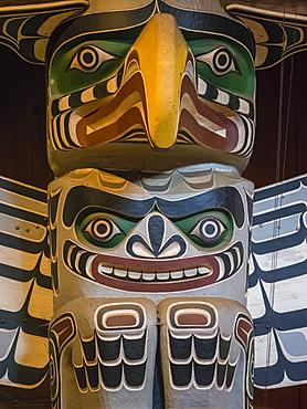 Totem pole in the longhouse of the Kwakwaka'wakw people, Alert Bay, British Columbia, Canada, North America