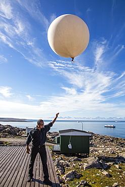 Inuit village, weather balloon launch, Ittoqqortoormiit, Scoresbysund, Northeast Greenland, Polar Regions