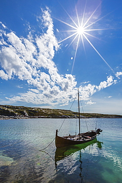 Per Johnson's replica of traditional Viking boat on Hitra Island, Norway, Scandinavia, Europe
