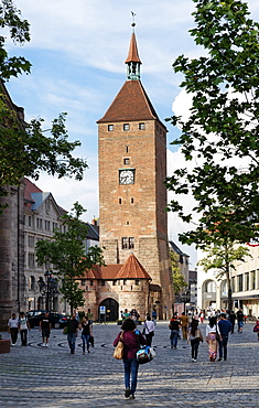 Weisser Turm tower, Ludwig Square, Nuremberg, Middle Franconia, Bavaria, Germany