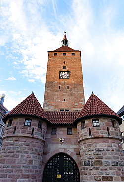 Weisse Turm tower, Ludwigplatz, Nuremberg, Middle Franconia, Bavaria, Germany
