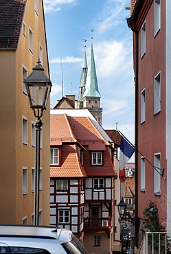 Old town with St. Sebaldus church, Nuremberg, Middle Franconia, Bavaria, Germany