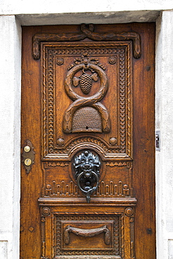 Ornamental wooden door, Eichstaett, Altmuehltal, Franconia, Bavaria, Germany