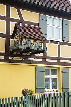 Timber frame building with pigeon house, Dinkelsbuehl, Franconia, Bavaria, Germany