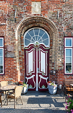 Door of the old bailiwick, from 1551, one of the oldest buildings in Travemuende, Luebeck, Schleswig-Holstein, Germany