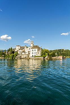 View over Lake Orta to Isola San Giulio, Piedmont, Italy