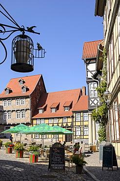 Half-timbered houses at Finkenherd, Quedlinburg, Harz, Saxony-Anhalt, Germany, Europe