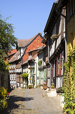 Half-timbered houses in an alley on Schlossberg Quedlinburg, beneath the castle and Collegiate Church of St Servatius, Quedlinburg, Harz, Saxony-Anhalt, Germany, Europe