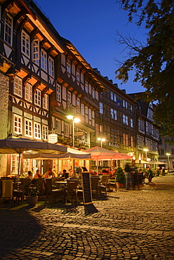 Market square in the evening, Goslar, Harz, Lower-Saxony, Germany, Europe