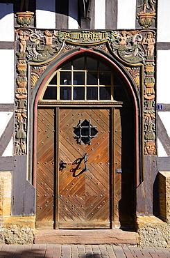 Carved door frame, Goslar, Harz, Lower-Saxony, Germany, Europe