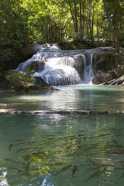 Waterfall in the Erawan national park, Kanchanaburi, Kanchanaburi Province, Thailand, Asia